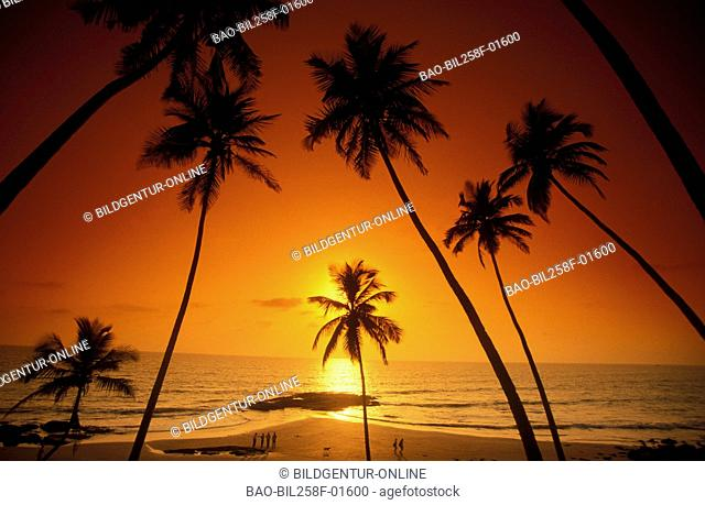 A beach with Anjuna in the north of Goa in the province of Goa in west India in India
