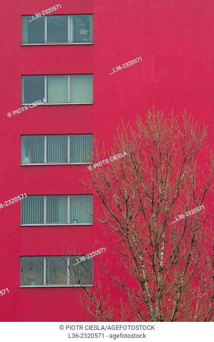 Red house. Warsaw. Poland