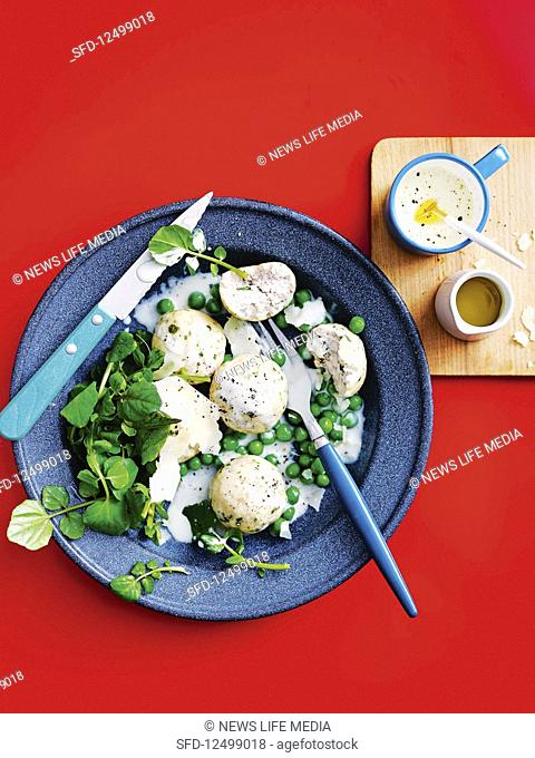 Chicken polpettini with parmesan and peas