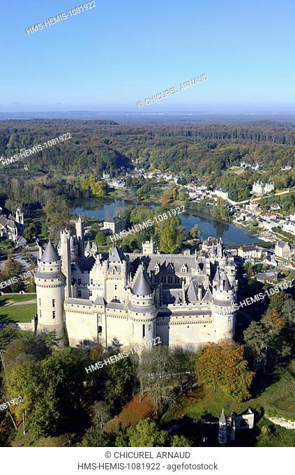France, Oise, Pierrefonds, the castle (aerial view)
