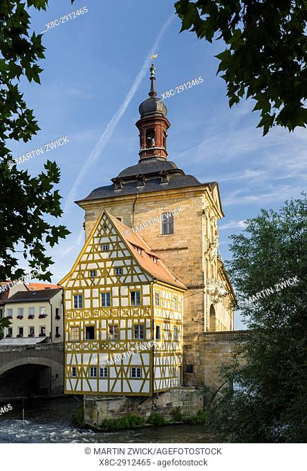 "The Alte Rathaus (Old City Hall), the landmark of Bamberg. Bamberg in Franconia, a part of Bavaria. The Old Town is listed as UNESCO World Heritage """"Altstadt..."