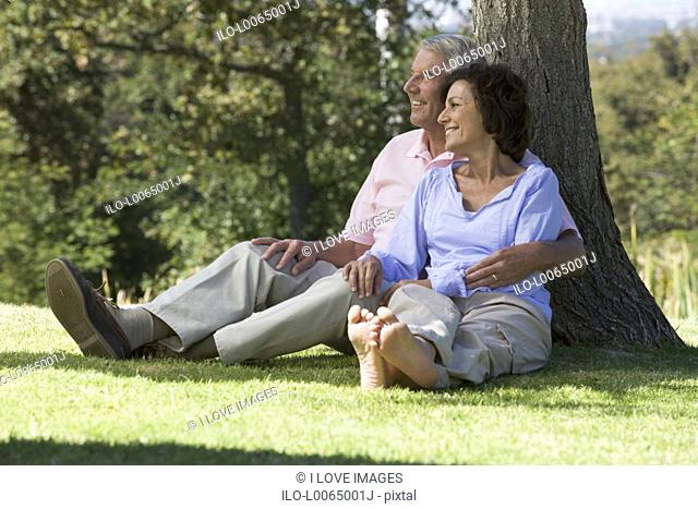 A senior couple sitting under a tree