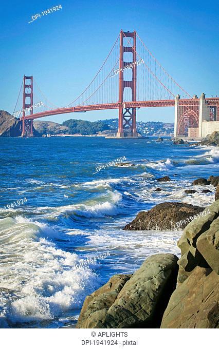 golden gate bridge from baker beach, san francisco california united states of america