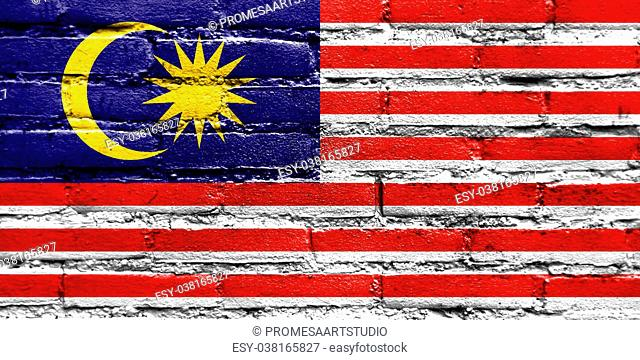 Malaysia Flag painted on brick wall
