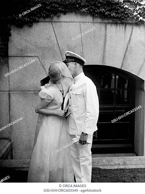 Naval Couple Kissing, U.S. Naval Academy, Annapolis, Maryland, USA, Harris & Ewing, May 1930