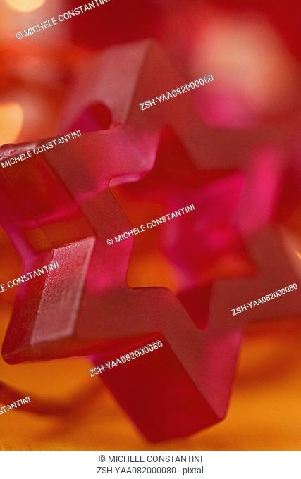 Pink Star of David holiday decoration, close-up