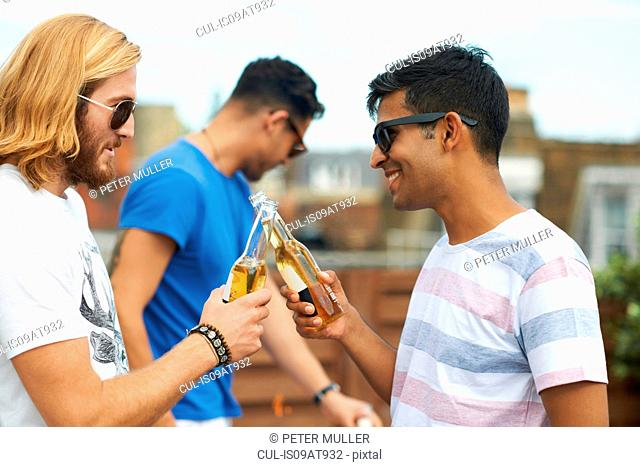 Two male friends making a toast with bottled beer at rooftop party
