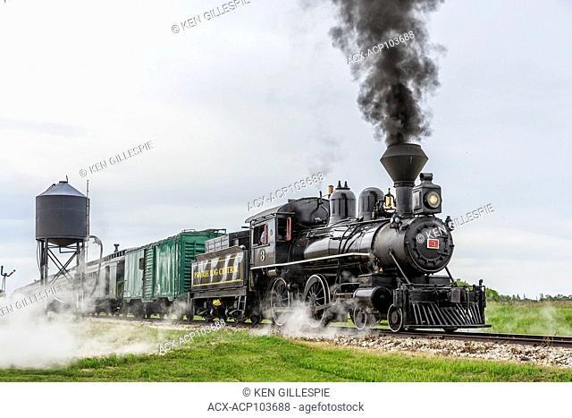 Vintage steam train, locomotive No.3 of the Prairie Dog Central Railway, Winnipeg, Manitoba, Canada