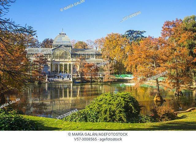 Cristal Palace in Autumn. The Retiro park, Madrid, Spain