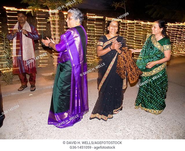 Communal dancing for a wedding in Ahmedabad, Gujarat, India