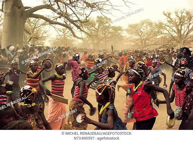 Young women dancing at funerals of the 'hogon' (the spiritual leader) of Sangha, Dogon Country, Mali