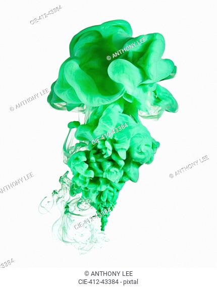 Green ink on white background
