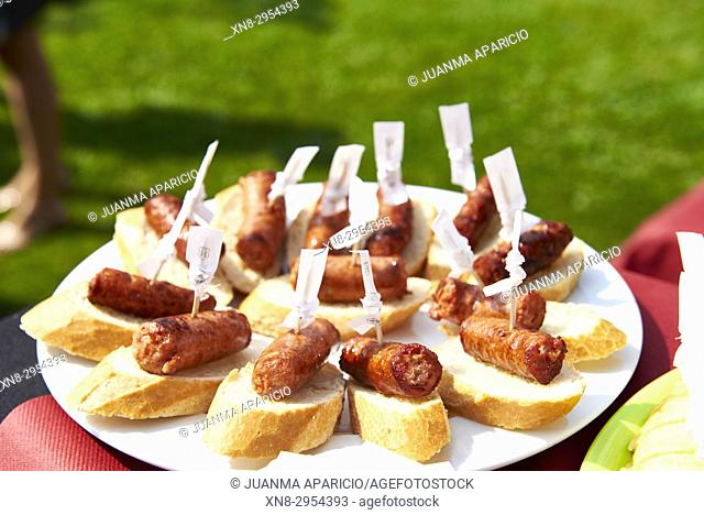 Pintxos of Chorizo (typical pork sausage). Basque Country, Spain