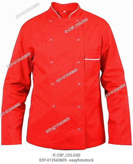 red chef male jacket isolated on white