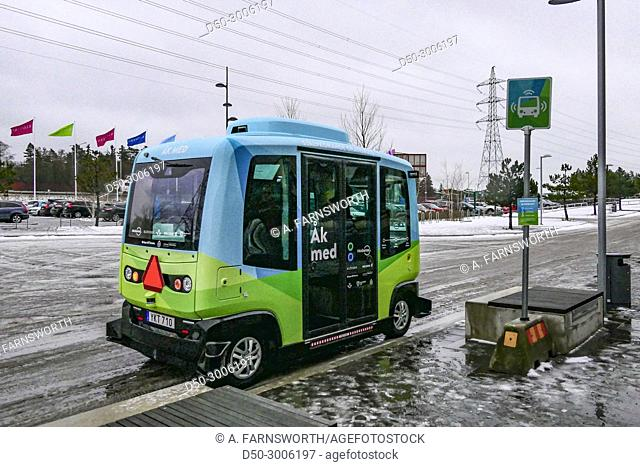 Kista suburb. Six month trial project. Self driving autonomous bus travels four stops at max 20 kmh on GPS technology. Stockholm, Sweden