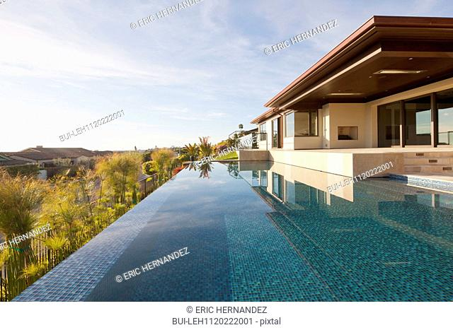 Swimming pool beside luxury house and landscape at Laguna Niguel; California; USA