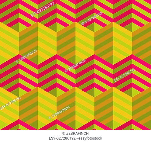 Retro fold striped hexagons touching.Abstract geometrical ornament. Pattern with effect of folded paper with realistic shadow