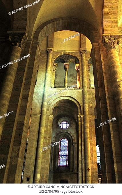 The Romanesque Basilica of Saint-Sernin, XI-XIIth centuries, is a UNESCO World Heritage Site. The aisle. Toulouse, Haute-Garonne department, Occitanie region
