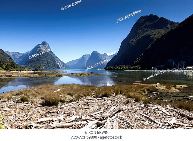Milford Sound, a fiord on the West Coast of New Zealand's South Island in Fiordland National Park