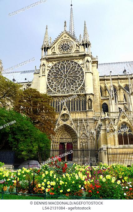 Square Jean Notre Dame Cathedral Catholic Church Paris France Europe FR