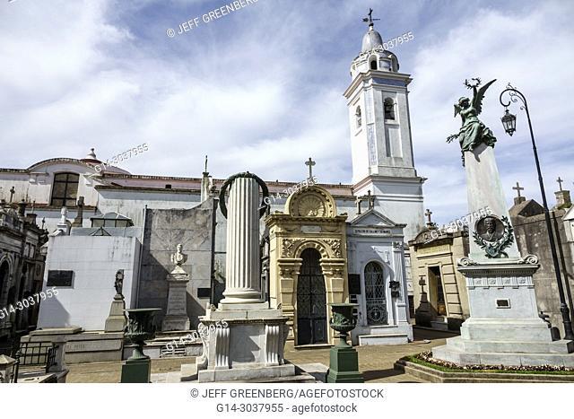 Argentina, Buenos Aires, Cementerio de la Recoleta Cemetery, historic, tombs statues, mausoleums, marble, cross, Basilica Nuestra Señora del Pilar, bell tower