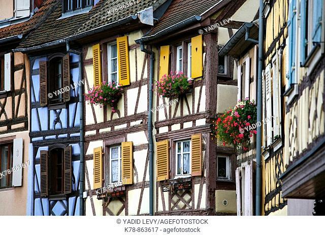 Sep 2008 - Colorful half timbered houses on quai de la Poissonnerie street in Petite Venise, Colmar, Alsace, France