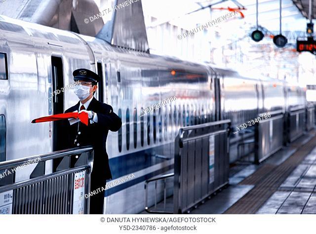 Shinkansen departing from Okayama to Shin-Osaka, Japan