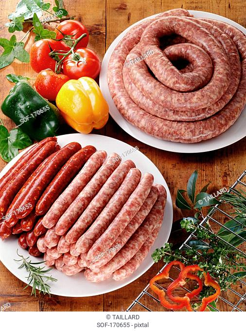 Variety of raw sausages