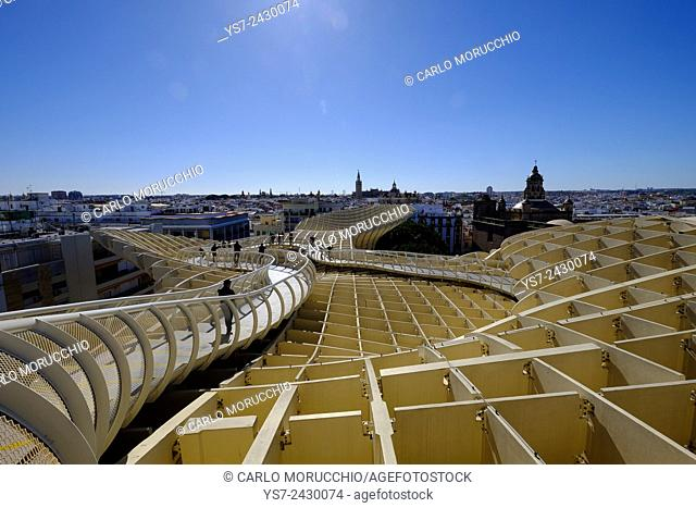 View of Sevilla from the top of Metropol Parasol, known as Setas de Sevilla, the Mushrooms, Sevilla, Andalusia, Spain