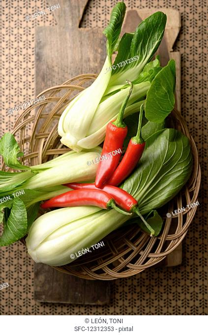 Fresh bok choy and chilli peppers from Indonesia
