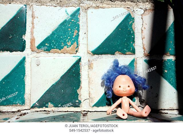 Abandoned Doll Lying in Green floor
