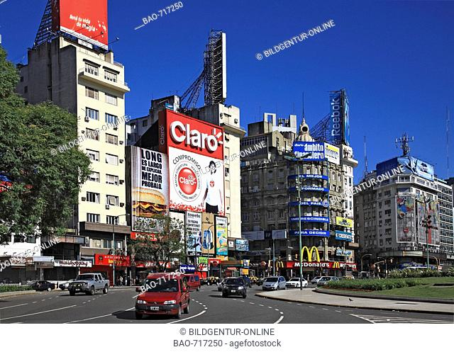 City center, Avenida 9 de Julio avenue, Buenos Aires, Argentina, South America