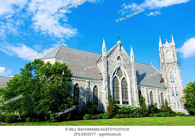 Bennington Vermont VT large church called Sacred Heart Saint Frances Church built in 1830 Roman Catholic Church on Main Street