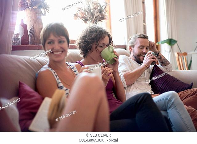 Group of friends, sitting on sofa, drinking tea
