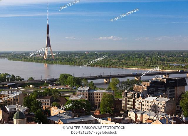 Latvia, Riga, Vecriga, Old Riga, elevated view of Daugava River and TV Tower, from Academy of Sciences building, morning