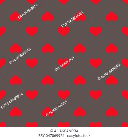 Hearts seamless red gray background pattern. Vector illustration