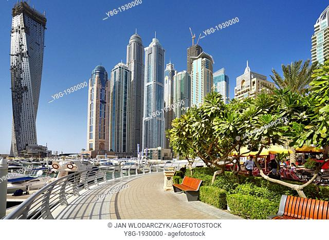 Dubai Marina - promenade in Marina district, Dubai, United Arab Emirates