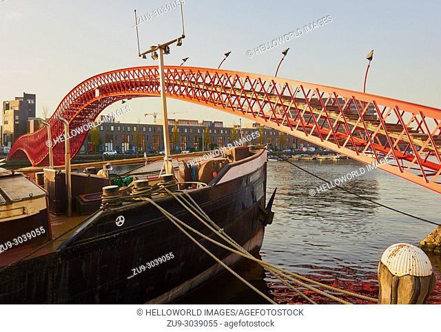 Python Bridge, Oosterdokseiland (Eastern Docklands), Amsterdam, Netherlands. Pedestrian footbridge (2001) designed by Adriaan Geuze of West 8