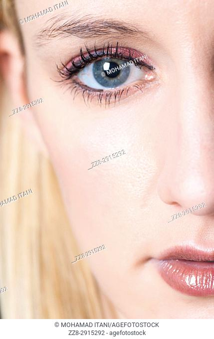 Close up of a woman staring