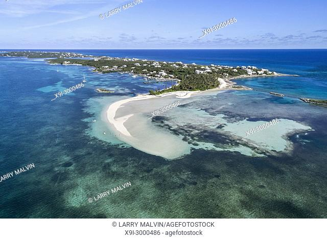 Aerial view of Tahiti Beach and sand bar on Elbow Cay in Abaco, Bahamas