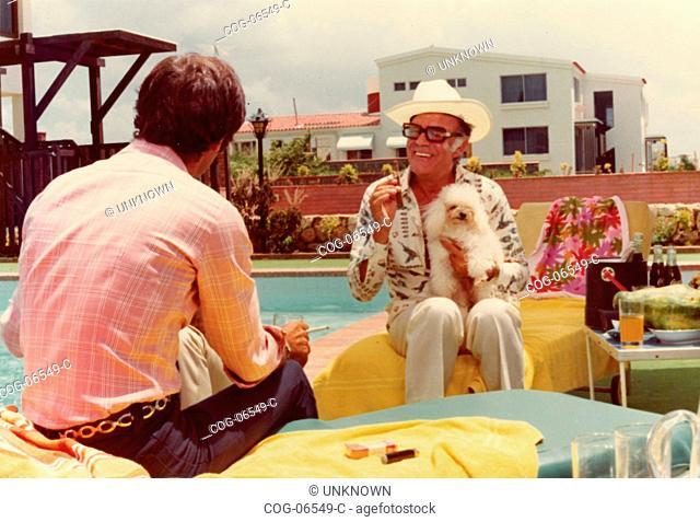 Actors Gabriele Tinti and Eduardo Fajardo in the Italian movie La ragazza dalla pelle di corallo, 1976