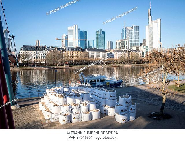 Large sandbags stacked next to the river in Frankfurt am Main, Germany, 06 January 2017. A 50-kilo Second World War bomb discovered in the river is to be...