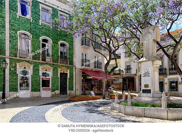 Europe, Portugal, Algarve, Faro district, Lagos, facade covered with Portuguese azulejos, Praça Luis de Camoes