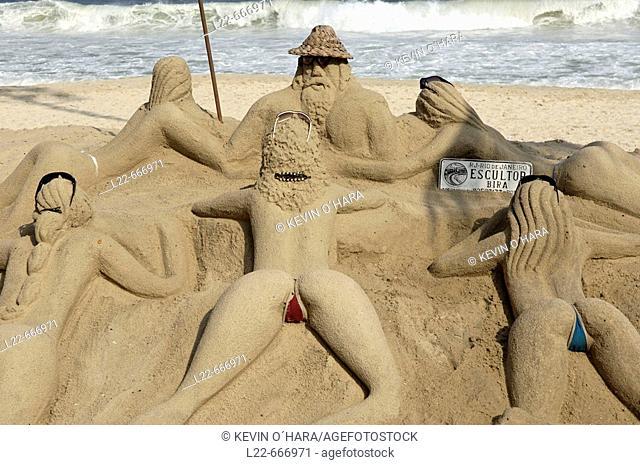Sand sculpture. Copacabana beach. Avenue Atlantica. Rio de Janeiro is the second major city behind Sao Paulo. It was once the capital of Brazil (1763-1960) and...