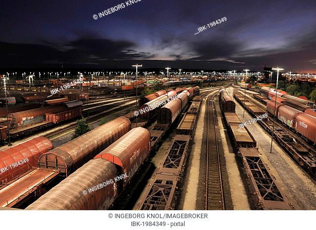 Night shot, freight trains at Maschen railway yard near Hamburg, Germany, Europe, PublicGround