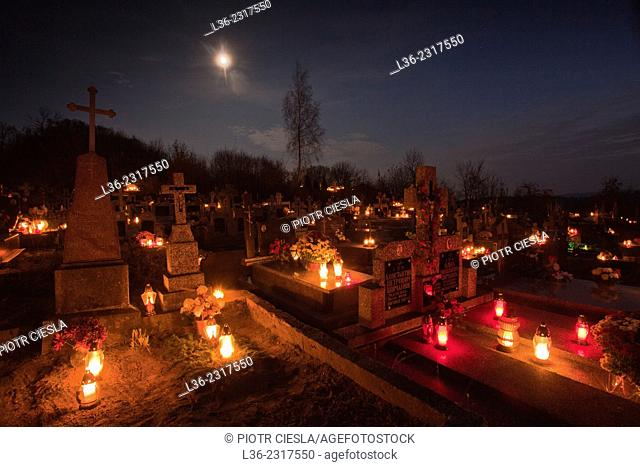 All Saints Day. Poland. Podlasie region. Cemetery