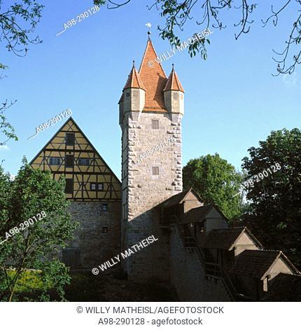 Kobolzeller Tor at Rothenburg ob der Tauber. Bavaria. Germany