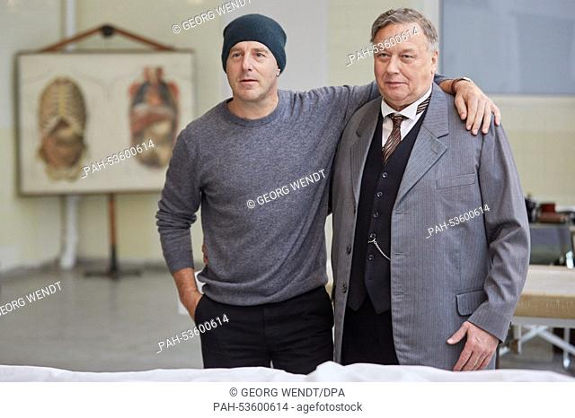"Actor Heino Ferch (L) as Fritz Lang and Thomas Thieme as Criminal Counselor Gennat pose in the set of the movie """"Fritz Lang - der andere in uns"""" (Fritz Lang -..."