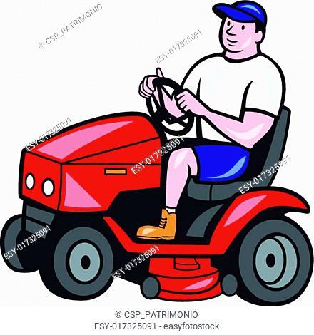 Gardener Mowing Rideon Lawn Mower Cartoon