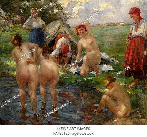 Bathers. Tikhov, Vitali Gavrilovich (1876-1939). Oil on canvas. Realism. Russia. Private Collection. Genre. Painting